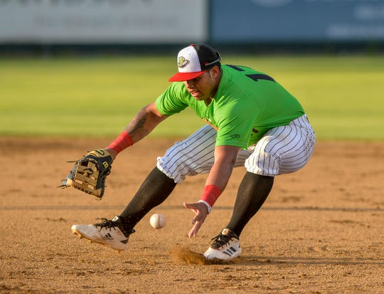 Great Falls Voyagers' first baseman Harvin Mendoza, pictured earlier this season in a game against the Billings Mustangs, got the game-winning RBI Friday night as Great Falls ended their seven-game losing streak againsy Grand Junction.