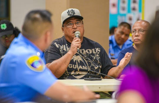 Born and raised in the village of Dededo resident James Garrido talks about safety concerns he believes should be addressed in the village as he speaks to a panel of community islanders during a public safety meeting at the Dededo Senior Center on Wednesday, July 3, 2019.