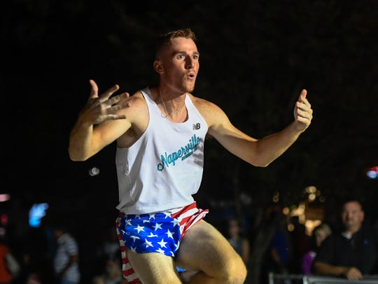 "Chase Brannon reacts after clearing 16' 6"" at the Jammin' & Jumpin' Street Vault held in Henderson's Audubon Mill Park Wednesday, July 3, 2019."