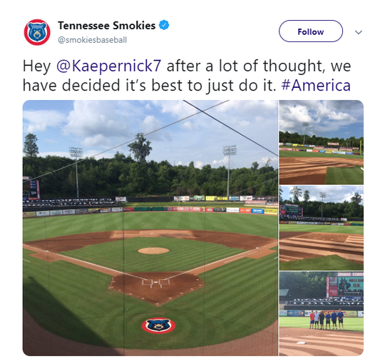 The Tennessee Smokies Double-A baseball team came under fire Wednesday,  July 3, 2019, after it posted a tweet showing the Betsy Ross flag etched into the infield. Nike reportedly designed a shoe featuring the early flag but pulled it after former NFL quarterback Colin Kaepernick complained.