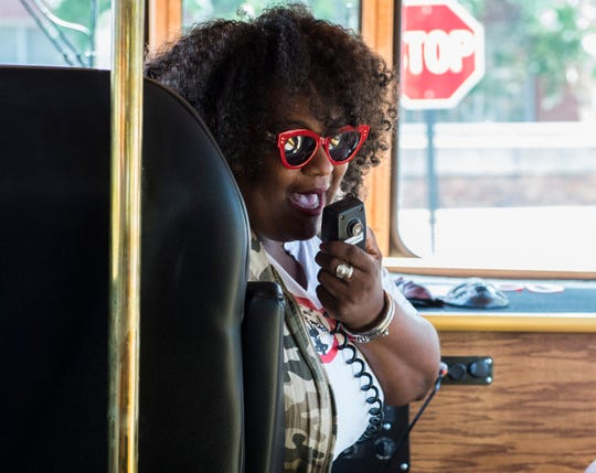 Owner Michelle Browder gives a tour in the new More Than Tours trolley in Montgomery, Ala., on Thursday, July 4, 2019.