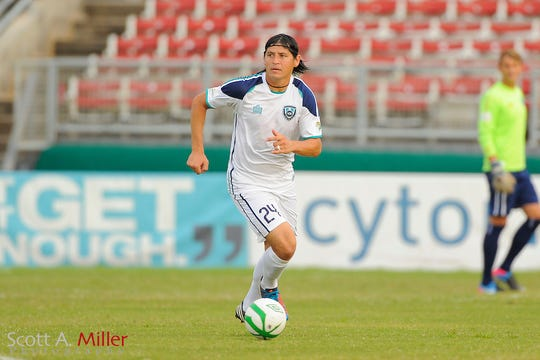 VSI Tampa Bay FC defender Josh Rife (24) in action against the Charleston Battery in a USL Pro soccer match at Plant City stadium in Plant City, Florida on July 13, 2013.