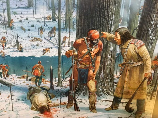 A British military adviser communicates with a Native American during the Battle of the Wabash in 1791 in this painting at the Fort Recovery State Museum.