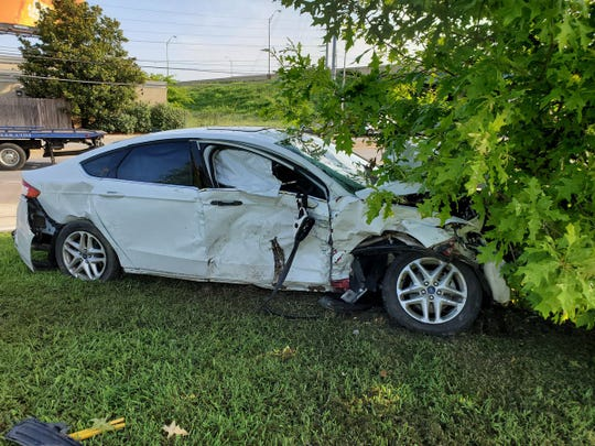 The Ford Fusion police say Jayona Brown was driving when she struck Officer John Anderson's cruiser in the early hours  of Thursday, July 4, 2019. He died in the crash.