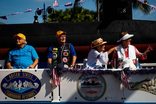 The United States Submarine Veterans group rides in a float down Fifth Avenue South for the Fourth of July parade in downtown Naples on Thursday, July 4, 2019.
