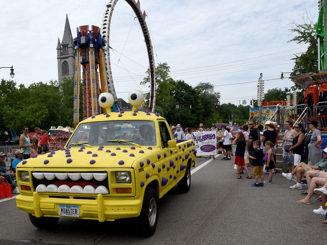 The annual Granville Kiwanis Fourth of July Parade on Thursday, July 4, 2019 moves through the Village's downtown. With Broadway closed for rides and concessions, and the Ohio 37 bridge limited to one-lane only traffic over the holiday weekend, commuting may require patience at times.