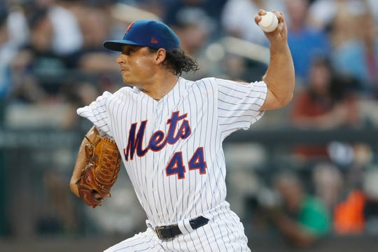 New York Mets starting pitcher Jason Vargas winds up during the second inning of the team's baseball game against the New York Yankees on Wednesday, July 3, 2019, in New York.