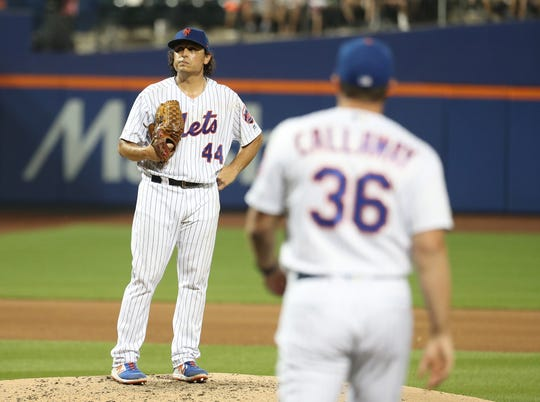 Jason Vargas #44 of the New York Mets is taken out of the game in the sixth inning against the New York Yankees during their game at Citi Field on July 03, 2019 in New York City.