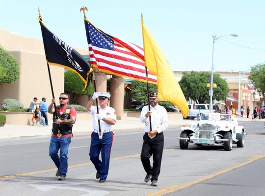 American Legion Bataan Post 4 veterans carried the colors during the Fourth of July parade in Deming, NM.