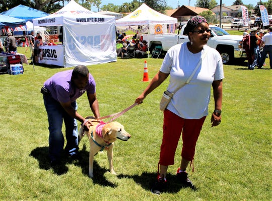 Jarrell, left, and Crystal Mason walk their dog Wonder during the July 4 Party in the Park at Brookside Park in Farmington.