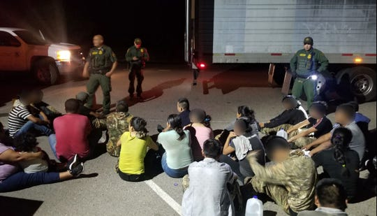 U.S. Customs and Border Patrol agents found 33 undocumented immigrants hidden inside a trailer after a stop at the Interstate 19 immigration checkpoint on Tuesday night.