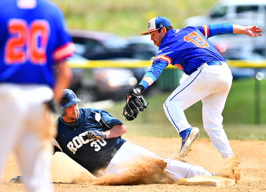 Hallam's Zack Zambito moves in for the tag to out Glen Rock's Daniel Rogers at second during Central League baseball action in Glen Rock, Thursday, July 4, 2019. Dawn J. Sagert photo