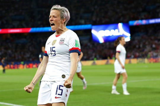 United States' Megan Rapinoe celebrates after scoring her side's second goal during the Women's World Cup quarterfinal soccer match between France and the United States at the Parc des Princes, in Paris, Friday, June 28, 2019. The final game of the Women's World Cup will be streamed Sunday at the Capitol Theatre.