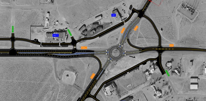 A schematic of the new roundabout in Silver Springs, including frontage roads.