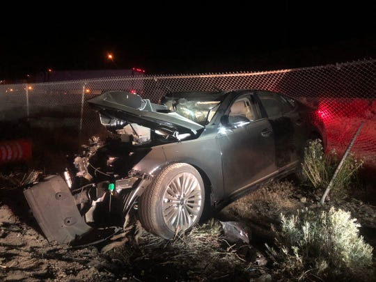 Early in the morning of July 4, the driver of this black Kia traveling the wrong way caused a head-on crash on I-80 near Verdi.