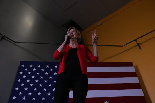 U.S. Senator and democratic candidate for president Elizabeth Warren visits Cathexes in Reno during a campaign stop on July 3, 2019.