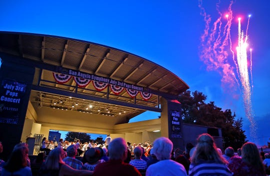 Fireworks go off toward the end of the performance by the San Angelo Symphony at the July 3 Pops Concert on Wednesday.