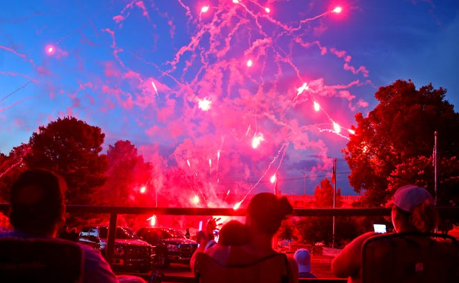 Members of the audience at the 2019 San Angelo Symphony July 3 Pops Concert enjoy a fireworks display on Wednesday.