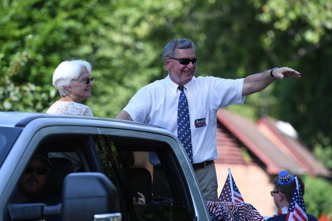 House of Delegates candidate and former Staunton mayor John Avoli waves during the Happy Birthday America July 4th Parade in Gypsy Hill Park, Staunton, Va. Thursday, July 4, 2019.