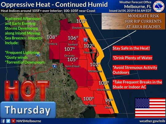 Forecasters warn of a hot and humid Independence Day.