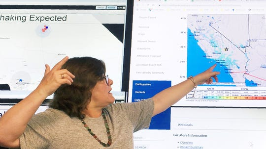 Seismologist Lucy Jones talks during a news conference at the Caltech Seismological Laboratory in Pasadena on Thursday after a strong earthquake rattled a large swath of Southern California and parts of Nevada.