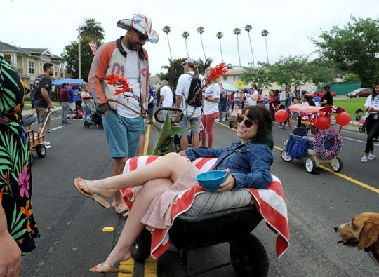 Kim Welchons participates in the 2019 Fourth of July parade in Ventura.
