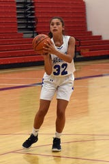New Lexington freshman Aubri Spicer shoots during a practice for the Ohio Express eighth-grade girls basketball on Tuesday, July 2, 2019 at Lakewood High School.