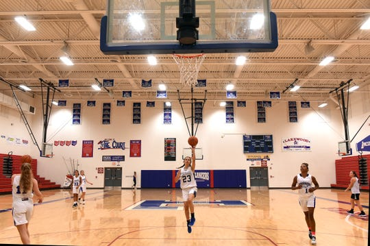 Cambridge freshman Braxton King shoots during a practice for the Ohio Express eighth-grade girls basketball on Tuesday, July 2, 2019 at Lakewood High School.