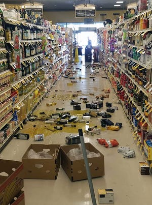 Broken bottles and other goods on the floor in a store in Lake Isabella, Calif. after a 6.4 magnitude quake hit Southern California.  A 6.4 magnitude earthquake hit Southern California on Thursday at 10:33 am near the Searles Valley in San Bernardino County, the United States Geological Survey said.