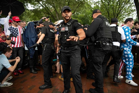 Violence broke out in front of the White House on July 4, 2019 between protesters and counter-protesters, leading to arrests ahead of President Donald Trump's speech from the steps of the Lincoln Memorial.  Photo by Hannah Gaber, USA TODAY