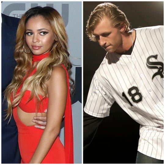 """Riverdale"" actress Vanessa Morgan, left, and professional baseball player Michael Kopech, right, announced their engagement"