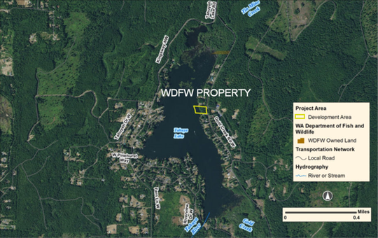 Proposed site of the WDFW public access site on Lake Tahuyeh.