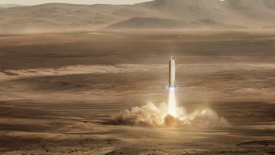 SpaceX's Starship vehicle will land on Mars the way SpaceX Falcon 9 boosters return and land at Cape Canaveral Air Force Station.