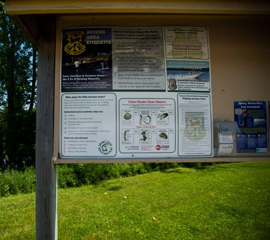 A sign at Shelburne Bay in Shelburne, VT, seen on July 2, 2019, that details some invasive species in Lake Champlain boaters should be wary of.