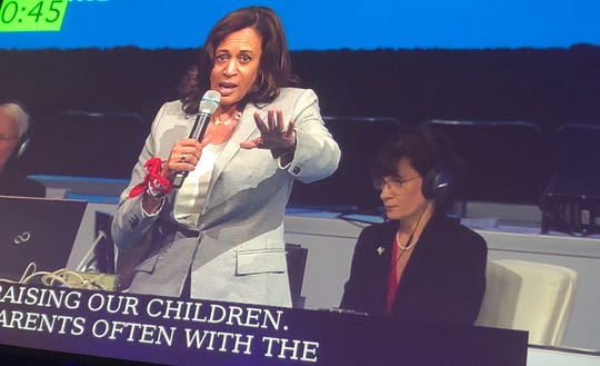 Kamala Harris speaks to the annual gathering of the National Education Association in Houston, July 5, 2019.
