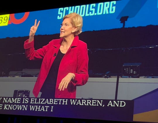 Elizabeth Warren speaks to the annual gathering of the National Education Association in Houston, July 5, 2019.