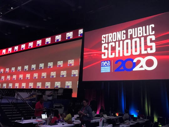 Ten of the Democratic candidates for the 2020 presidential nomination addressed the annual conference of the National Education Association in Houston, July 5, 2019
