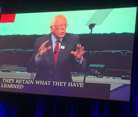 Bernie Sanders speaks to the annual gathering of the National Education Association in Houston, July 5, 2019.