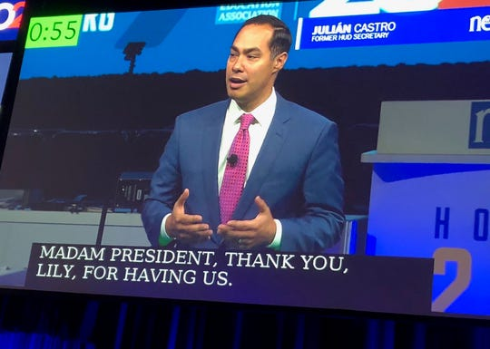 Julian Castro speaks to the annual gathering of the National Education Association in Houston, July 5, 2019.