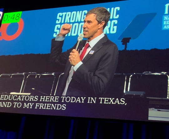 Beto O'Rourke speaks to the annual gathering of the National Education Association in Houston, July 5, 2019.
