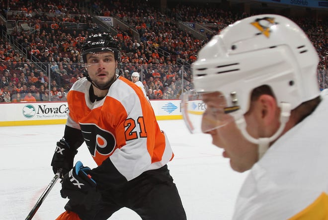 Scott Laughton figures to be the Flyers' fourth line center this season. He had 12 goals and 32 points in 82 games last season.