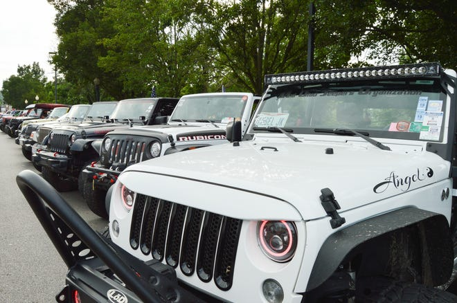 More than 70 Jeeps were parked on Water Street as part of the First Capital Fireworks Watch Party where community members could view the vehicles and chat with the drivers.