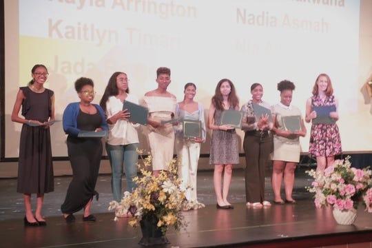 Scholarship recipients (left to right) : Nia Abdullah, Kayla Arrington, Nadia Asmah, Jada Bethea, Anamaria Buchhan, Nisha Makwana, Monet Murray, Madison Rowe and Kaitlyn Timari.