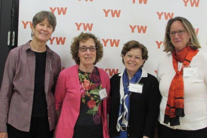 (Left to right) Board members Betsy Garber, Fredi L. Pearlmutter, partner at Westfield's Lindabury, McCormick, Estabrook & Cooper, P.C.; Eileen McCoy Whang, and Board President Megan Adams at YWCA Princeton.