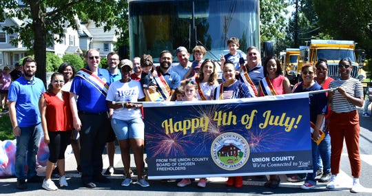 Union County Freeholder Vice Chairman Alexander Mirabella and Freeholders Rebecca Williams, Angela R. Garretson, Sergio Granados, Kimberly Palmieri-Mouded, Christopher Hudak and Andrea Staten joined Union County employees marching in the annual Plainfield 4th of July parade.