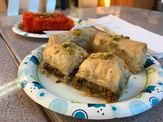 Baklava, Znout el Sett, and Konafa desserts (front to back) from Mr. Falafel in West Des Moines.