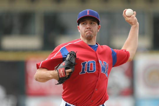 Danny Hultzen delivers a pitch during an Iowa Cubs game this season. Hultzen, a first round pick by the Seattle Mariners, is trying to get to the big leagues with the Cubs.