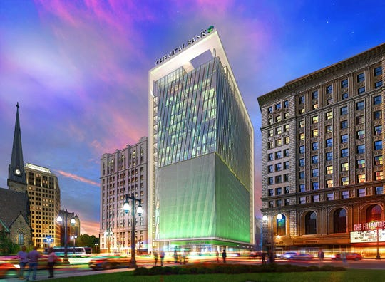 Rendering by Neumann/Smith architectural firm shows planned headquarters tower for the merged Chemical/TCF bank in downtown Detroit.
