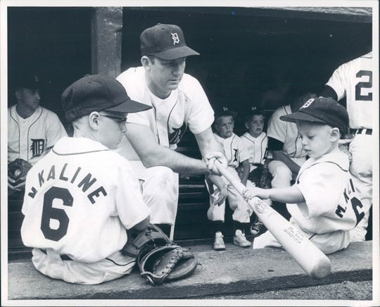 A young Mark and Mike Kaline with father Al Kaline in 1965.