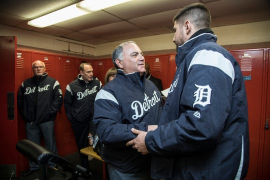 Detroit Tigers general manager Al Avila shakes hands with third basemen Nicholas Castellanos at the Southfield Fire Department in Southfield on Thursday, January 25, 2018.
